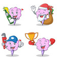 cotton candy character set with beer gift plumber vector image vector image