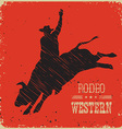 Cowboy riding large wild bullWestern poster vector image vector image