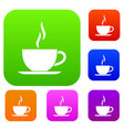 cup of hot drink set collection vector image vector image