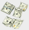detailed currency banknotes or american franklin vector image vector image