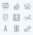 education icons line style set with zoology math vector image