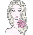 elegant line art of a beautiful young woman with vector image vector image