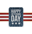emblem template with happy veterans day text vector image