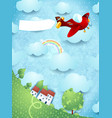 fantasy landscape with red airplane and blank vector image
