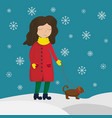 girl in a winter coat walking with a dog vector image vector image