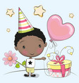greeting card cute boy with gift vector image vector image