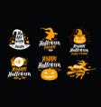 halloween of icons or symbols handwritten vector image vector image