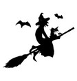 halloween partywitch with a cat on a broom and vector image vector image