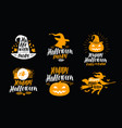 halloween set of icons or symbols handwritten vector image vector image