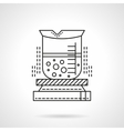 Heated beaker flat line icon vector image vector image