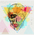hipster realistic and polygonal skull vector image
