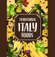 italian food with pasta tomato and herbs vector image vector image