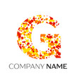 letter g logo with orange yellow red particles vector image vector image