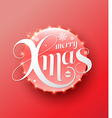 Merry Xmas white lettering on red circle Modern vector image vector image