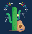 mexican cactus and guitar flowers decoration dark vector image vector image