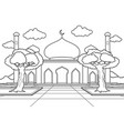 mosque with a large yard surrounded trees vector image