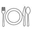 outline lunch icon - cutlery and plate vector image vector image