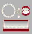 pearl jewelery set realistic vector image