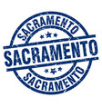 sacramento blue round grunge stamp vector image vector image