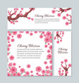 sakura blossom with pink cherry flowers vector image