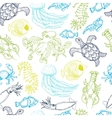 Seamless pattern with hand drawn sea animals vector image