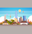 seoul city background skyline view with air vector image vector image