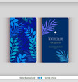set blue floral watercolor cards vector image vector image