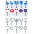 set doodle road signs in colorful and doodle vector image vector image