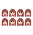 set female facial emotions cute girl emoji vector image vector image