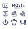 simple set cinema related cartoon outline vector image