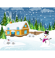 Snow covered country house vector image vector image