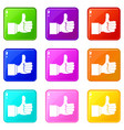 thumb up gesture icons 9 set vector image vector image