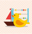 toys duck abacus and sailboat vector image
