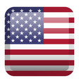 usa flag square glossy button eps 10 vector image