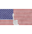 usa flag with isolated statue of liberty with fray vector image