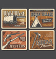 wild west western retro posters vector image