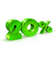 glossy green 20 twenty percent off sale isolated vector image