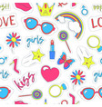 girl patches sticker background pattern on a white vector image