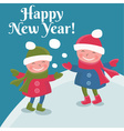 cartoon doodle girls in winterNew Year vector image