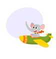 cute funny elephant pilot character flying on vector image