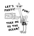 a stylized black-and-white goose in sunglasses vector image