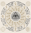 all-seeing eye god inside triangle pyramid vector image