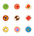 bagel icons set cartoon style vector image vector image