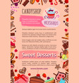 bakery candy desserts poster for cafe vector image vector image