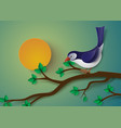 bird perched on a branch of a tree vector image vector image