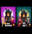 children in monster costumes witch mummy vampire vector image vector image