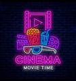 cinema neon signboard vector image vector image