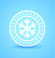 circular badge with snowflakes isolated on blue vector image vector image