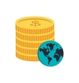 coin and earth globe icon vector image vector image