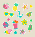 collection of summer stickers isolated vector image vector image